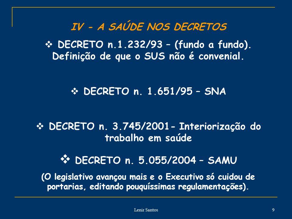 IV - A SAÚDE NOS DECRETOS