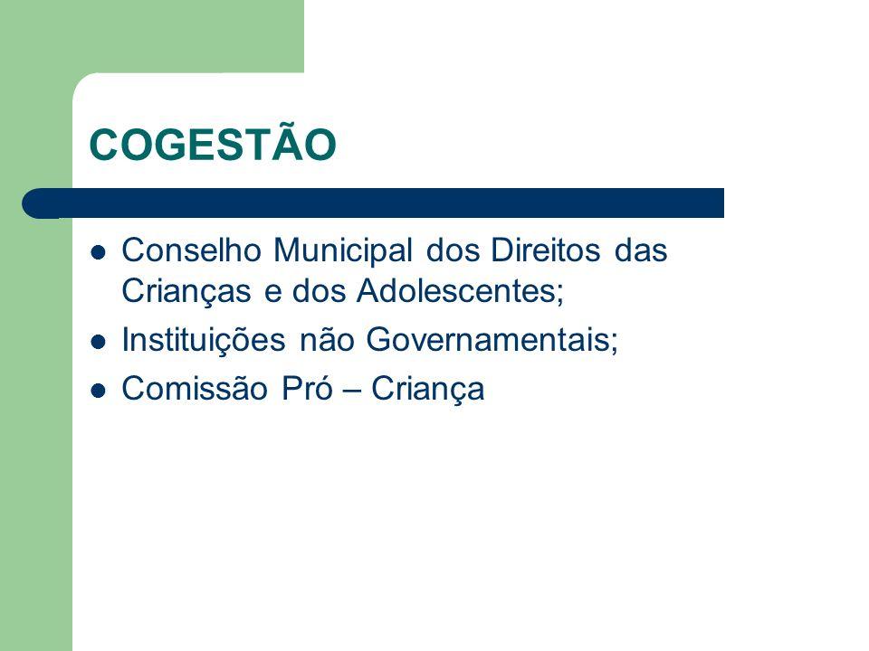 COGESTÃO Conselho Municipal dos Direitos das Crianças e dos Adolescentes; Instituições não Governamentais;