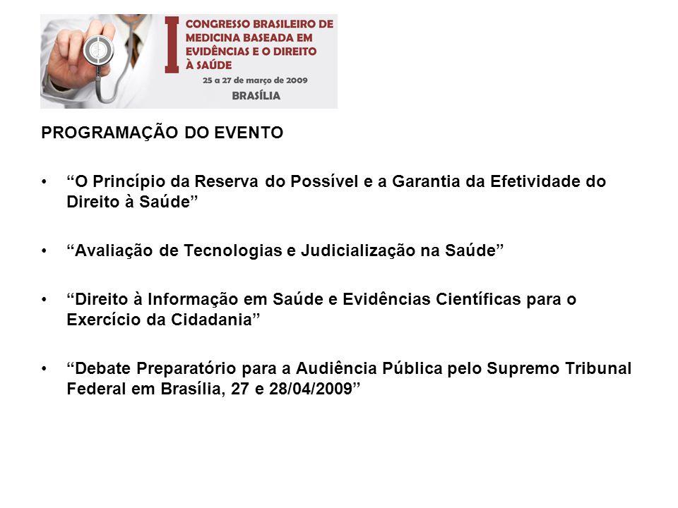 PROGRAMAÇÃO DO EVENTO O Princípio da Reserva do Possível e a Garantia da Efetividade do Direito à Saúde