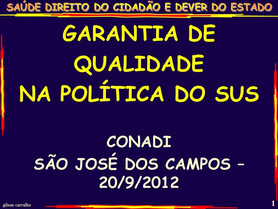GARANTIA DE QUALIDADE NA POLÍTICA DO SUS