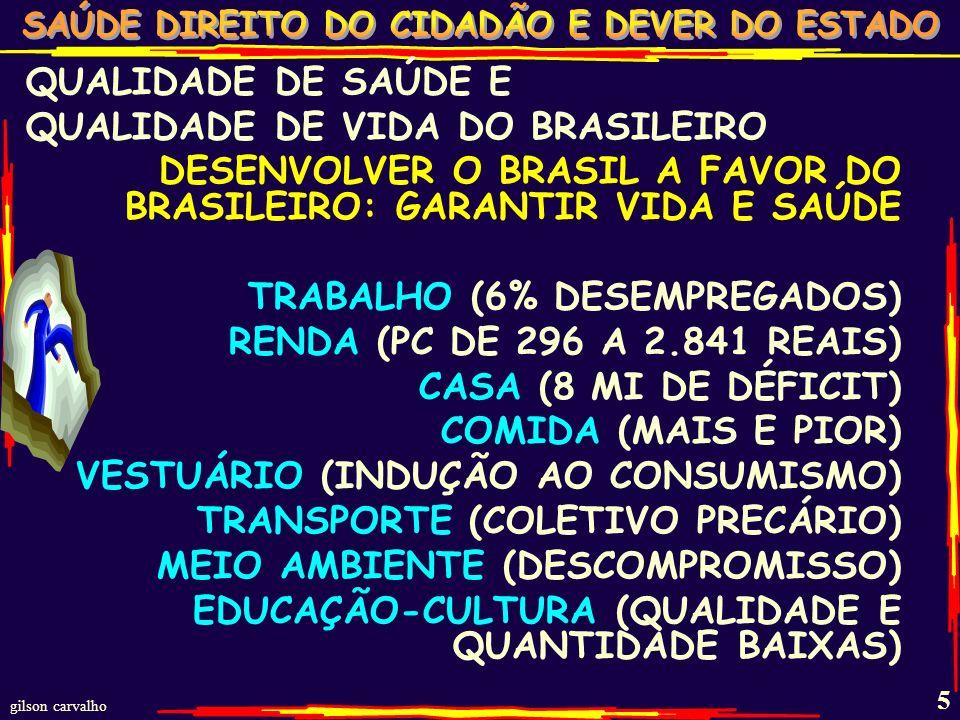 QUALIDADE DE SAÚDE E QUALIDADE DE VIDA DO BRASILEIRO. DESENVOLVER O BRASIL A FAVOR DO BRASILEIRO: GARANTIR VIDA E SAÚDE.