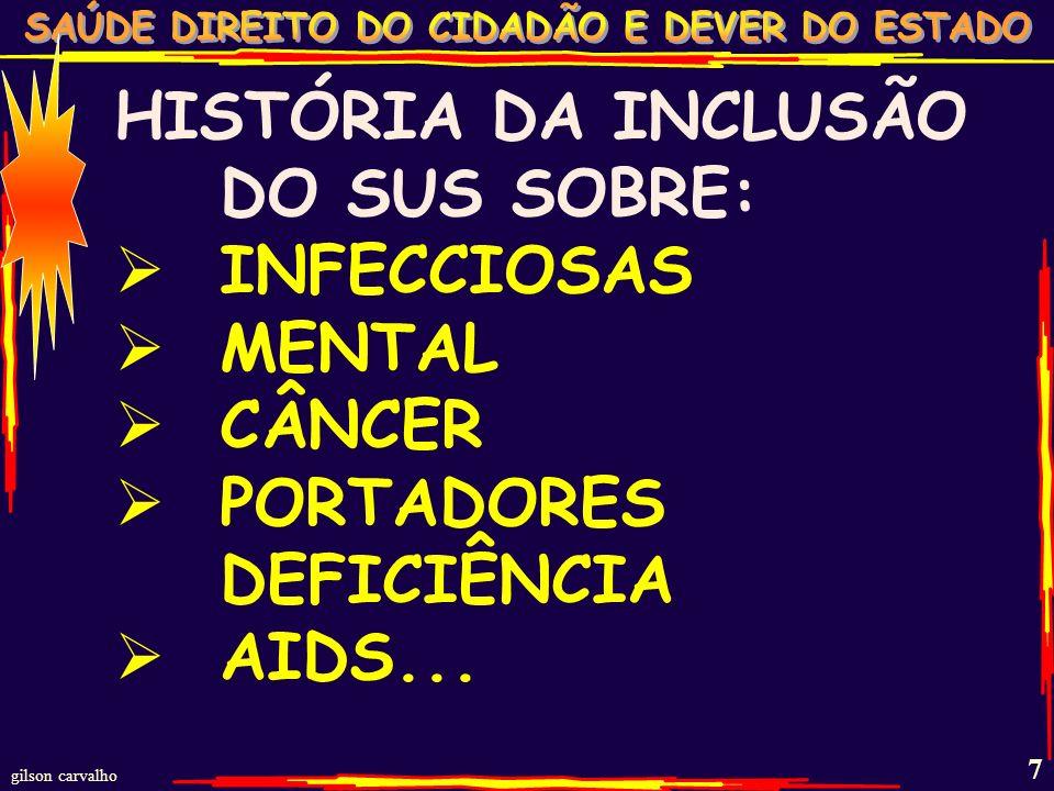 HISTÓRIA DA INCLUSÃO DO SUS SOBRE:
