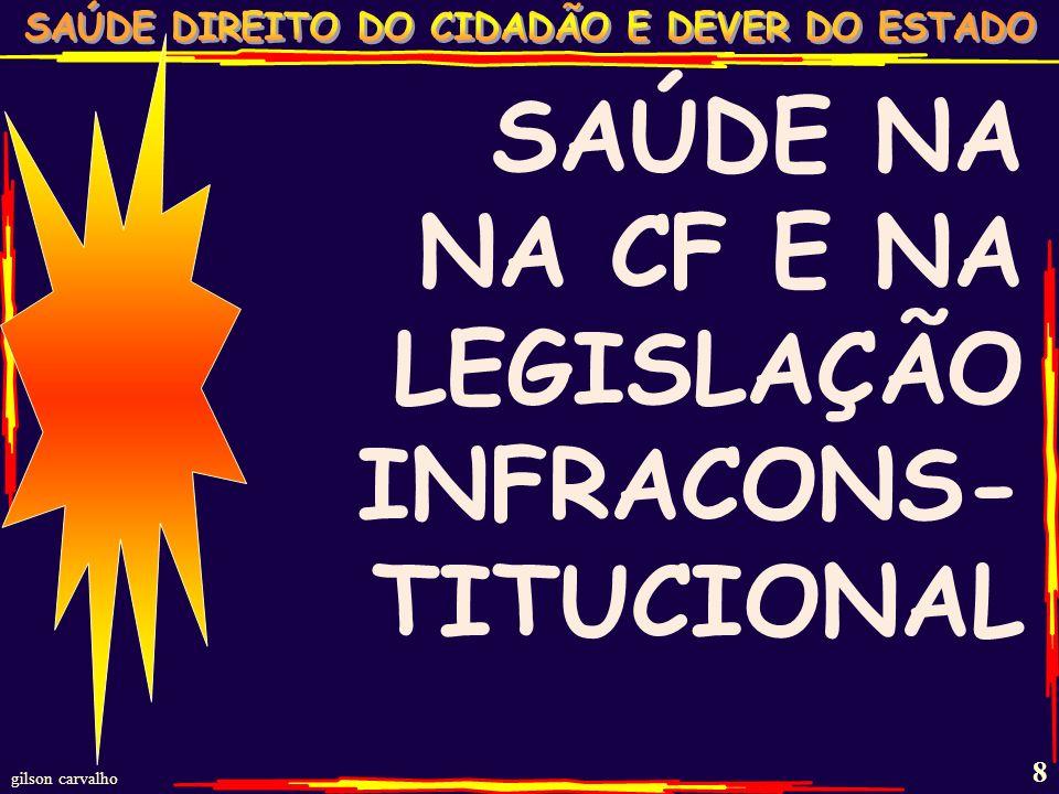 SAÚDE NA NA CF E NA LEGISLAÇÃO INFRACONS-TITUCIONAL