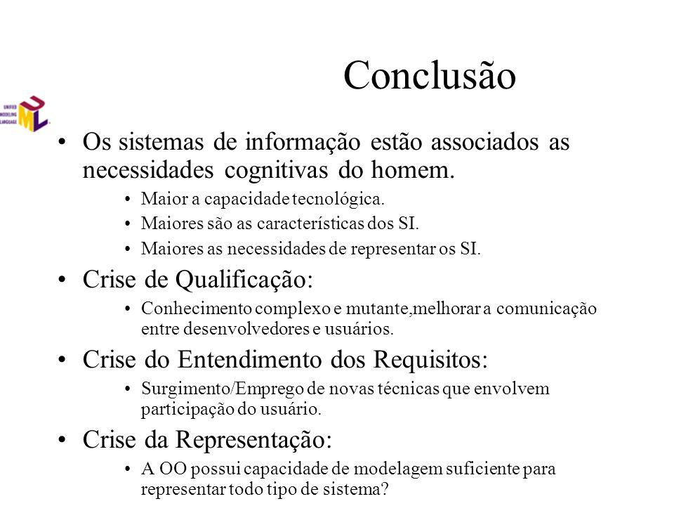 Conclusão Os sistemas de informação estão associados as necessidades cognitivas do homem. Maior a capacidade tecnológica.