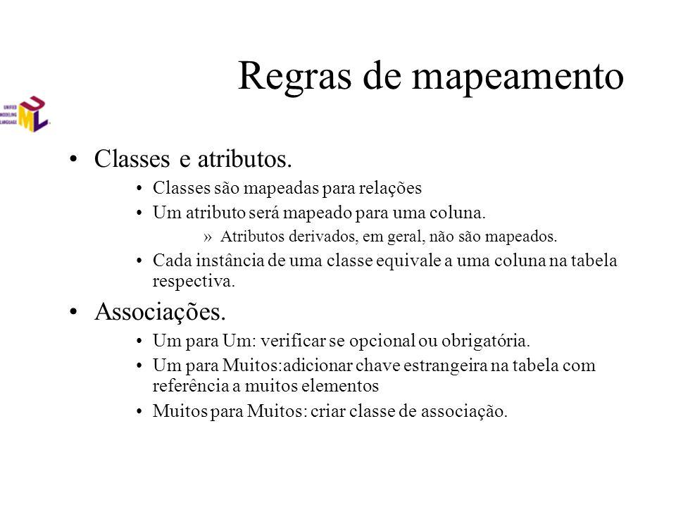 Regras de mapeamento Classes e atributos. Associações.