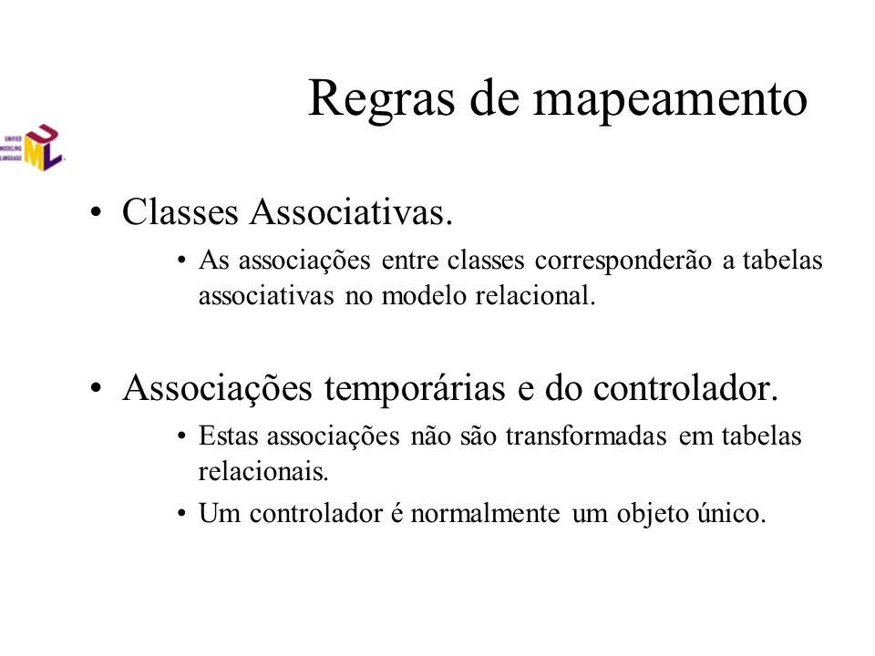 Regras de mapeamento Classes Associativas.