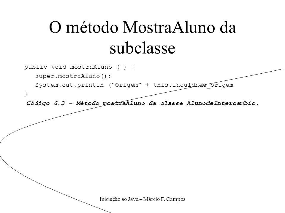 O método MostraAluno da subclasse