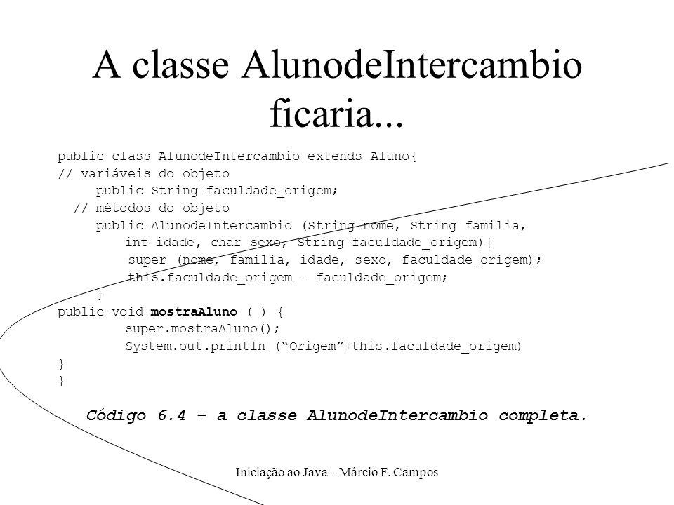 A classe AlunodeIntercambio ficaria...
