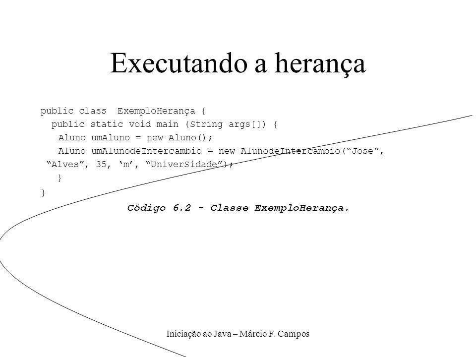 Executando a herança Código 6.2 - Classe ExemploHerança.