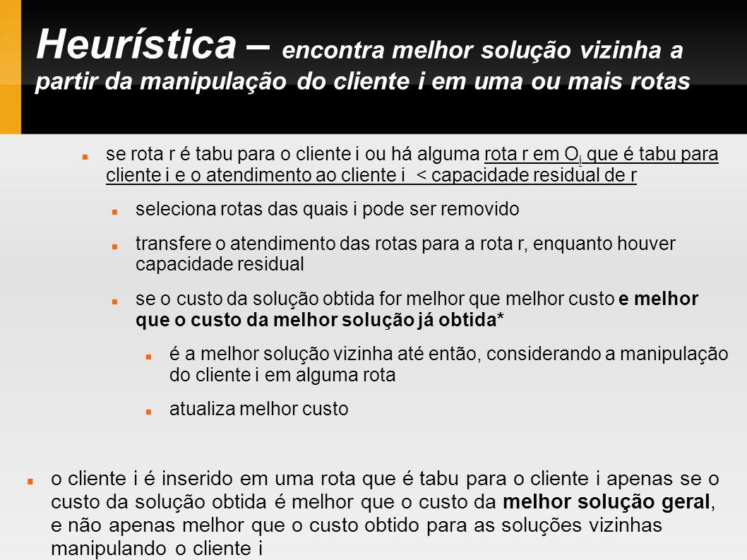 Heurística – encontra melhor solução vizinha a partir da manipulação do cliente i em uma ou mais rotas