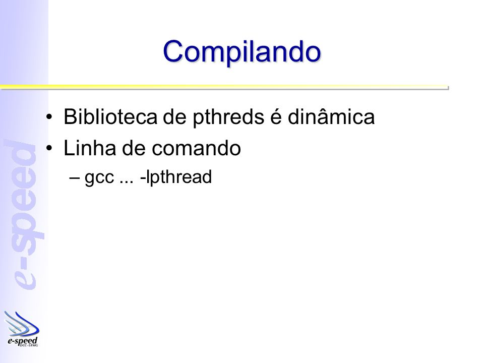 Compilando Biblioteca de pthreds é dinâmica Linha de comando