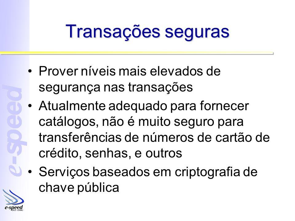 Transações seguras Prover níveis mais elevados de segurança nas transações.