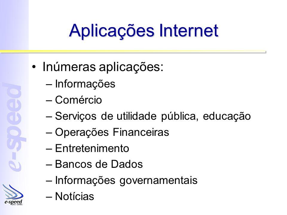 Aplicações Internet Inúmeras aplicações: Informações Comércio