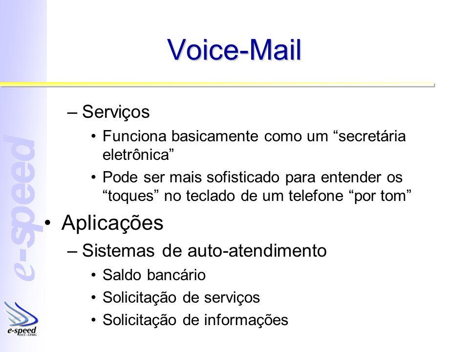 Voice-Mail Aplicações Serviços Sistemas de auto-atendimento