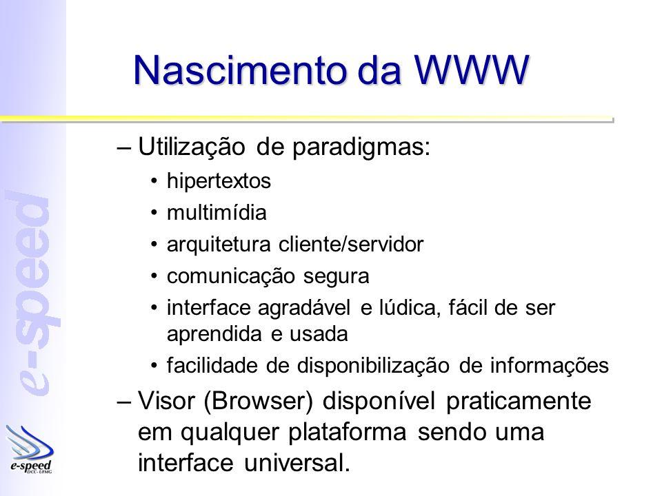 Nascimento da WWW Utilização de paradigmas: