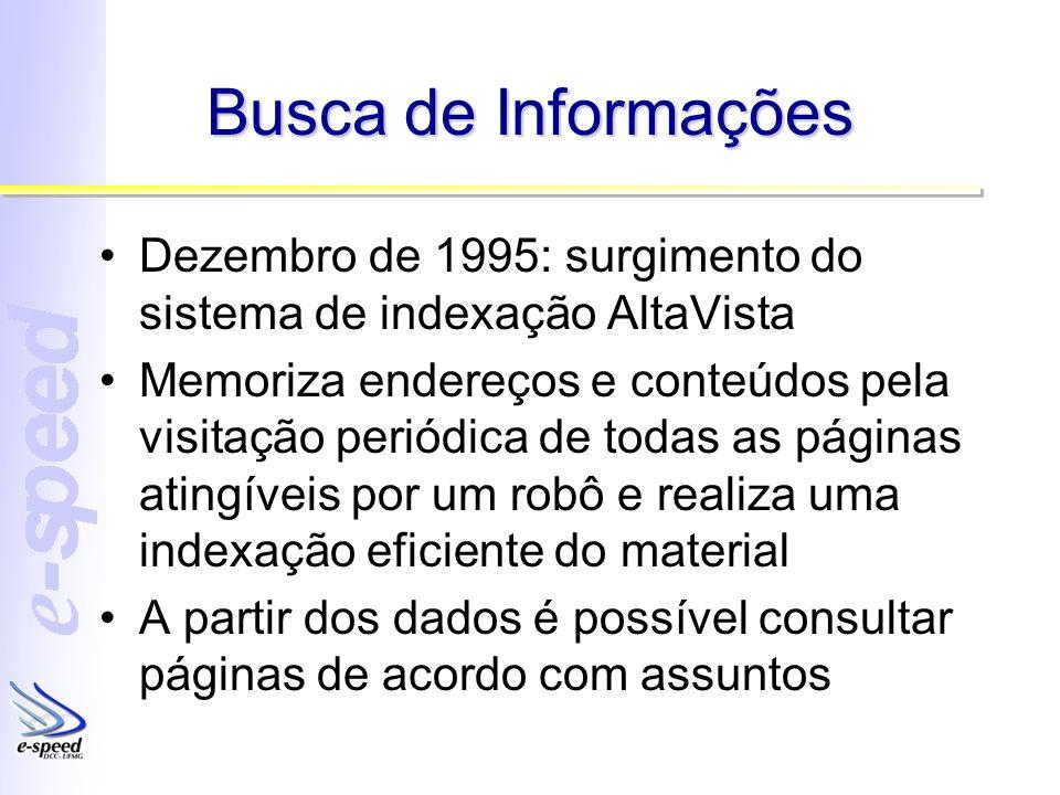 Busca de Informações Dezembro de 1995: surgimento do sistema de indexação AltaVista.