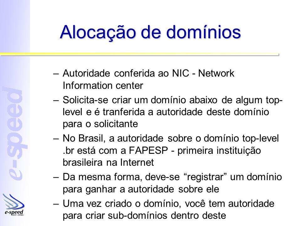 Alocação de domínios Autoridade conferida ao NIC - Network Information center.