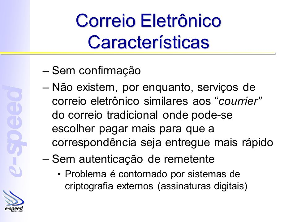 Correio Eletrônico Características