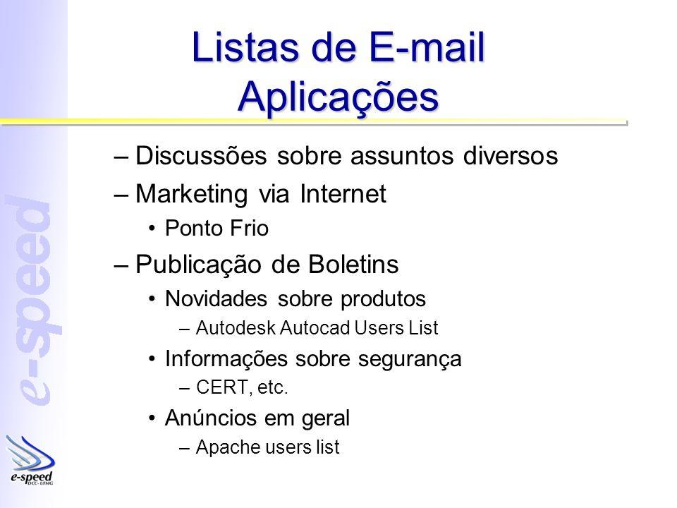 Listas de E-mail Aplicações