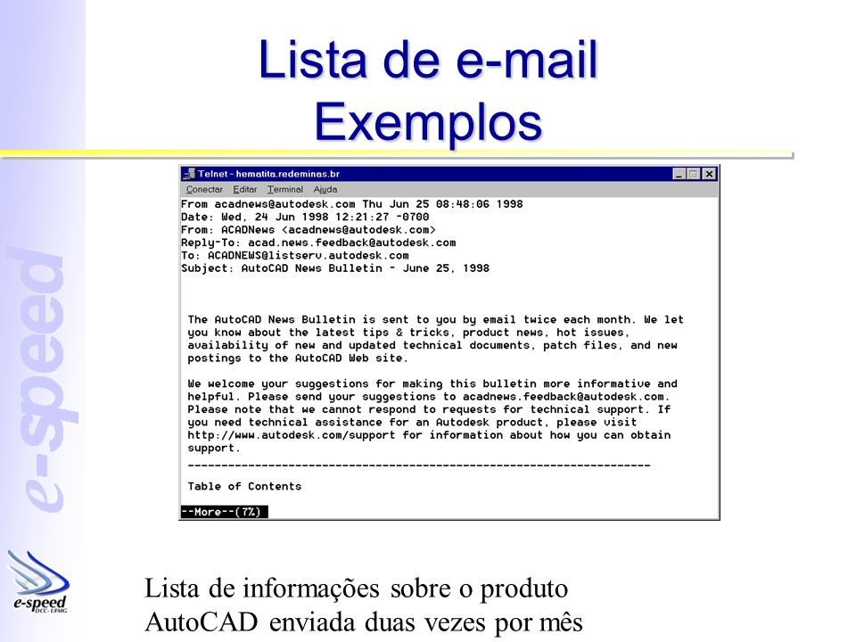 Lista de e-mail Exemplos