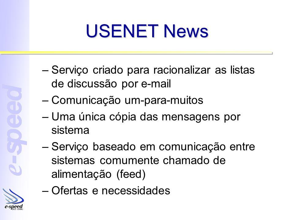 USENET News Serviço criado para racionalizar as listas de discussão por e-mail. Comunicação um-para-muitos.