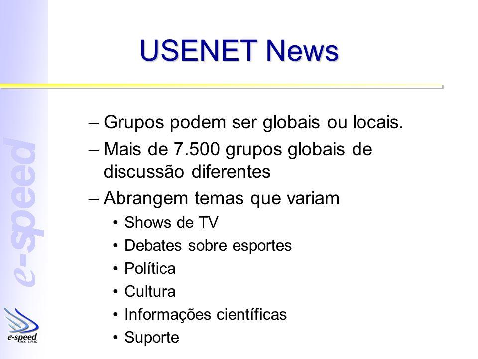 USENET News Grupos podem ser globais ou locais.