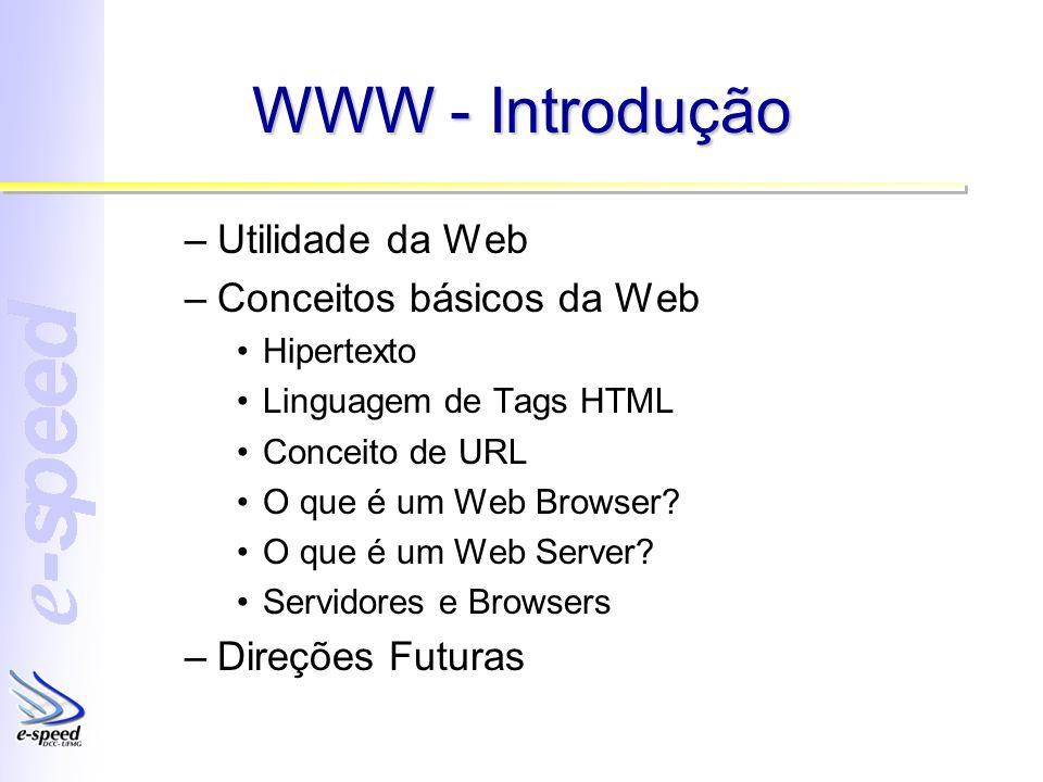 WWW - Introdução Utilidade da Web Conceitos básicos da Web