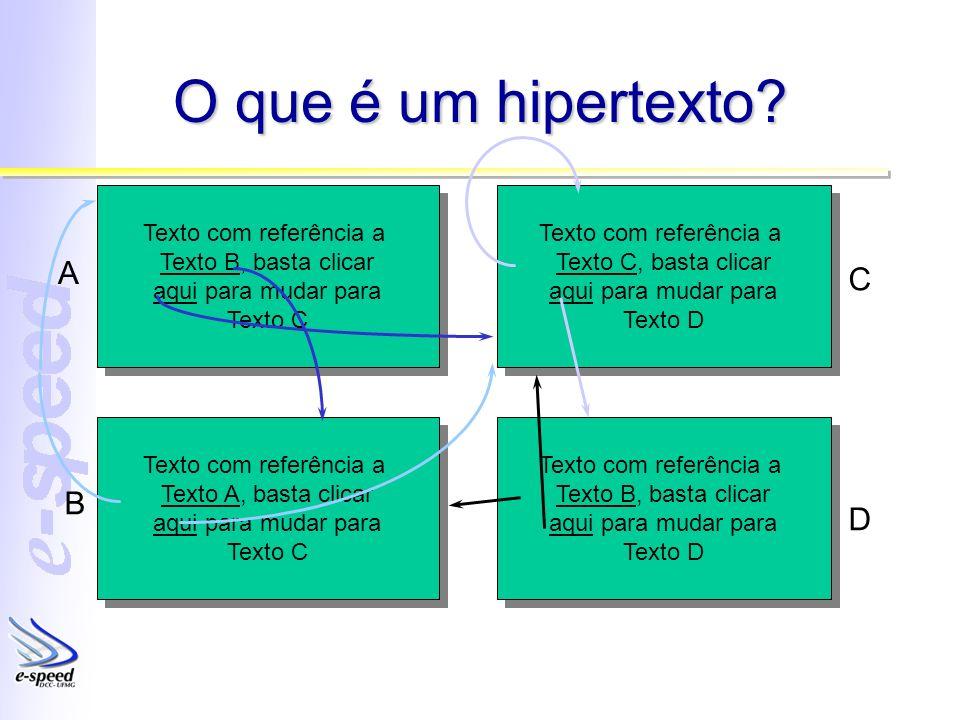 O que é um hipertexto A C B D Texto com referência a