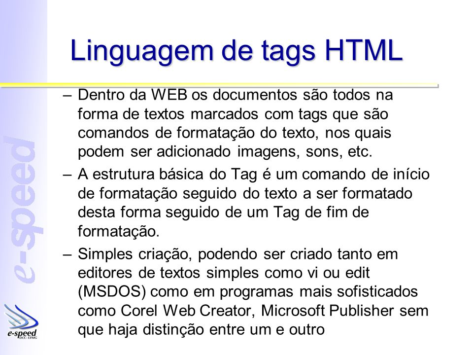 Linguagem de tags HTML