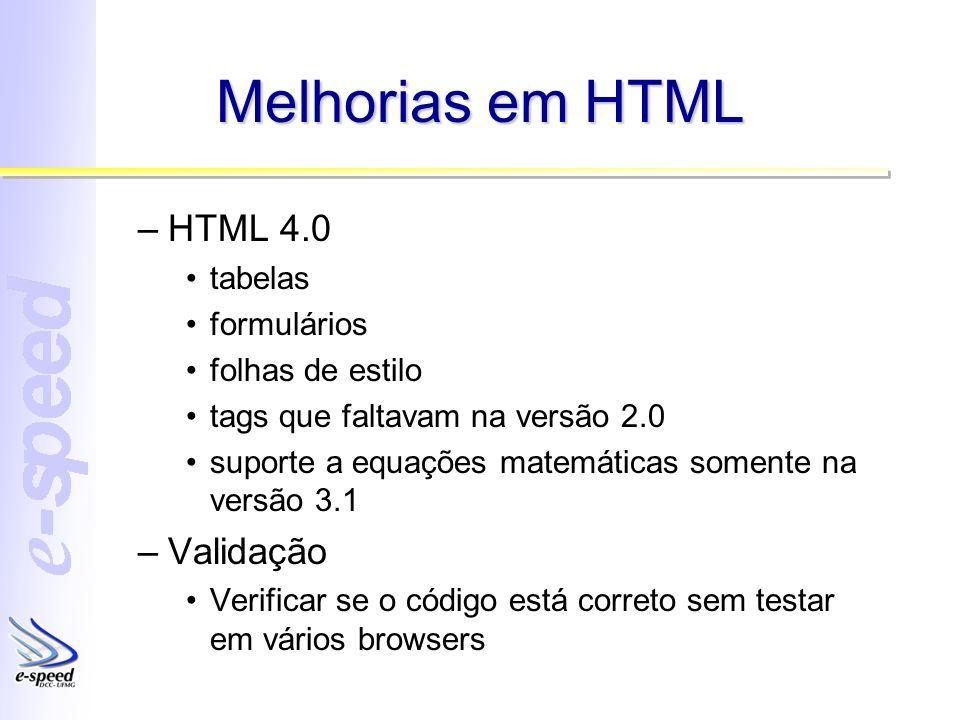 Melhorias em HTML HTML 4.0 Validação tabelas formulários