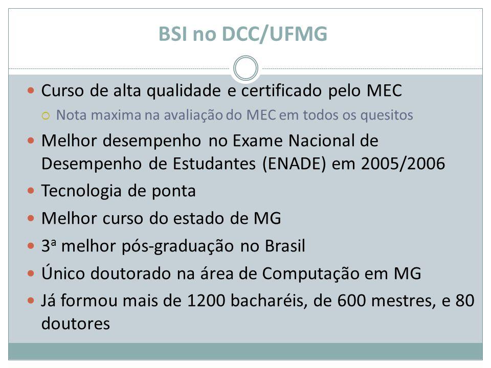BSI no DCC/UFMG Curso de alta qualidade e certificado pelo MEC