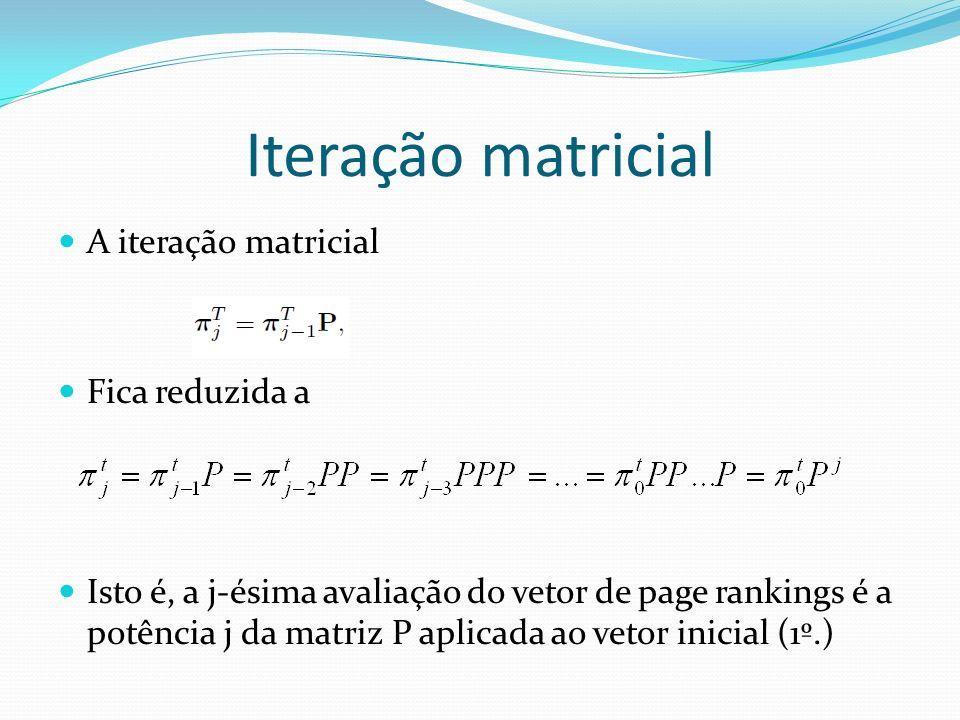 Iteração matricial A iteração matricial Fica reduzida a