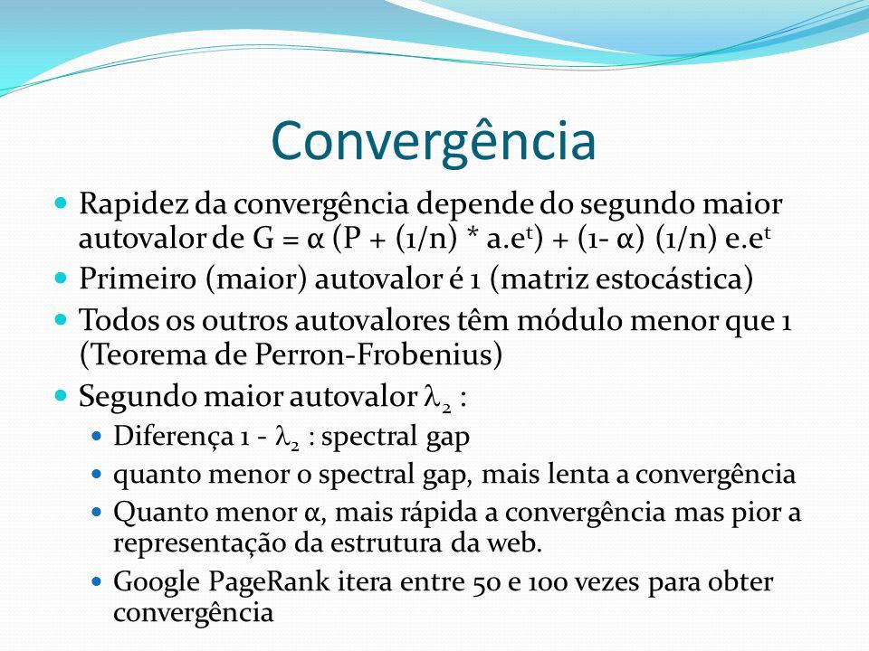 Convergência Rapidez da convergência depende do segundo maior autovalor de G = α (P + (1/n) * a.et) + (1- α) (1/n) e.et.