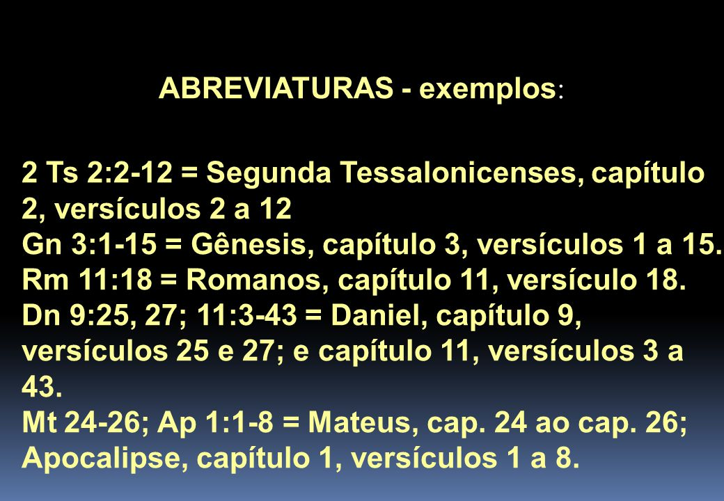 ABREVIATURAS - exemplos: