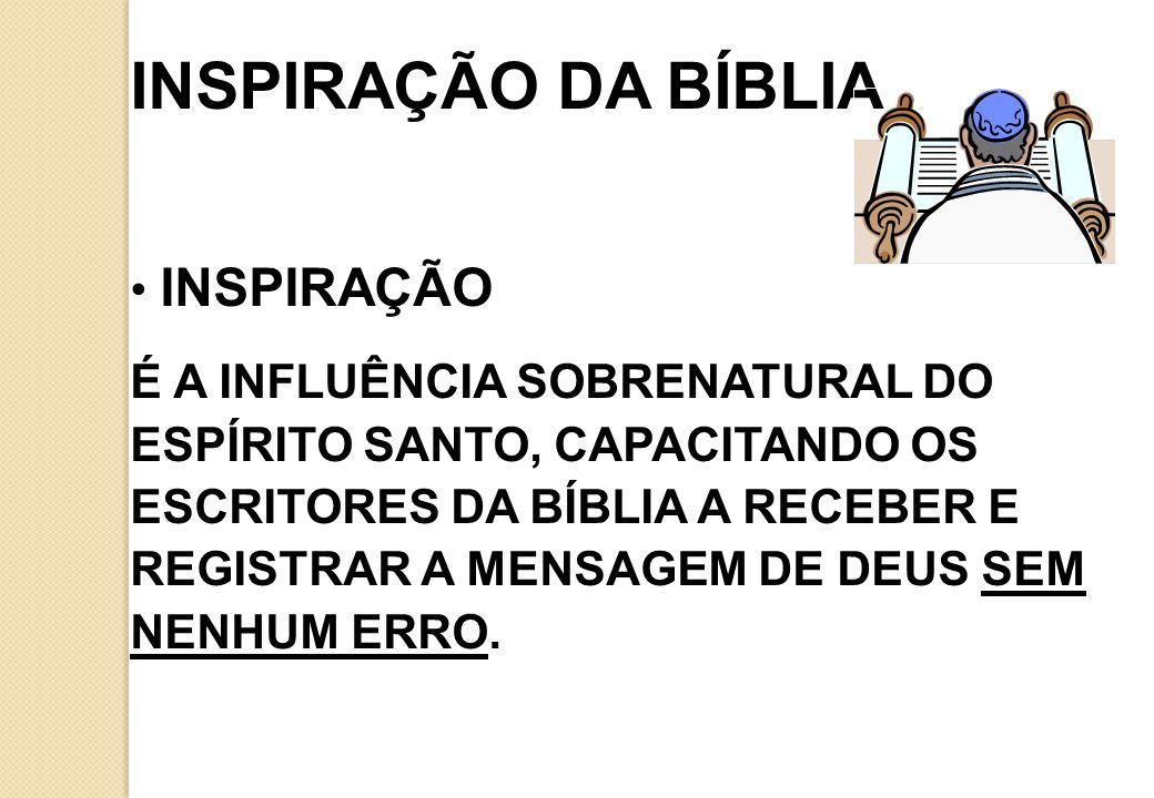 INSPIRAÇÃO DA BÍBLIA INSPIRAÇÃO