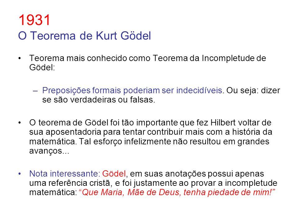 1931 O Teorema de Kurt Gödel Teorema mais conhecido como Teorema da Incompletude de Gödel:
