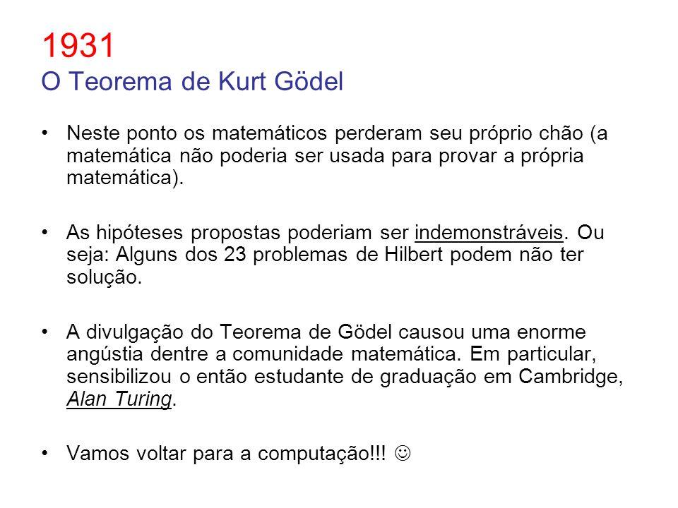 1931 O Teorema de Kurt Gödel