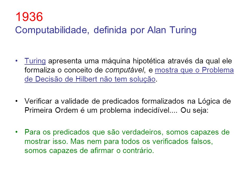 1936 Computabilidade, definida por Alan Turing