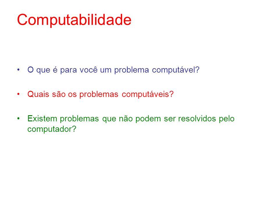 Computabilidade O que é para você um problema computável