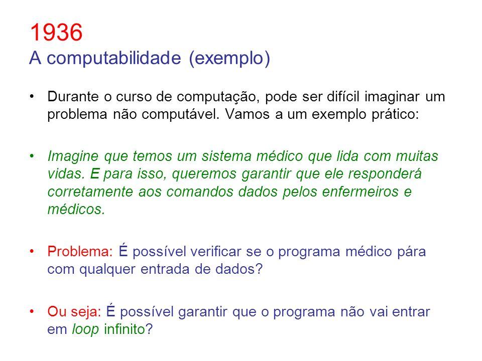 1936 A computabilidade (exemplo)