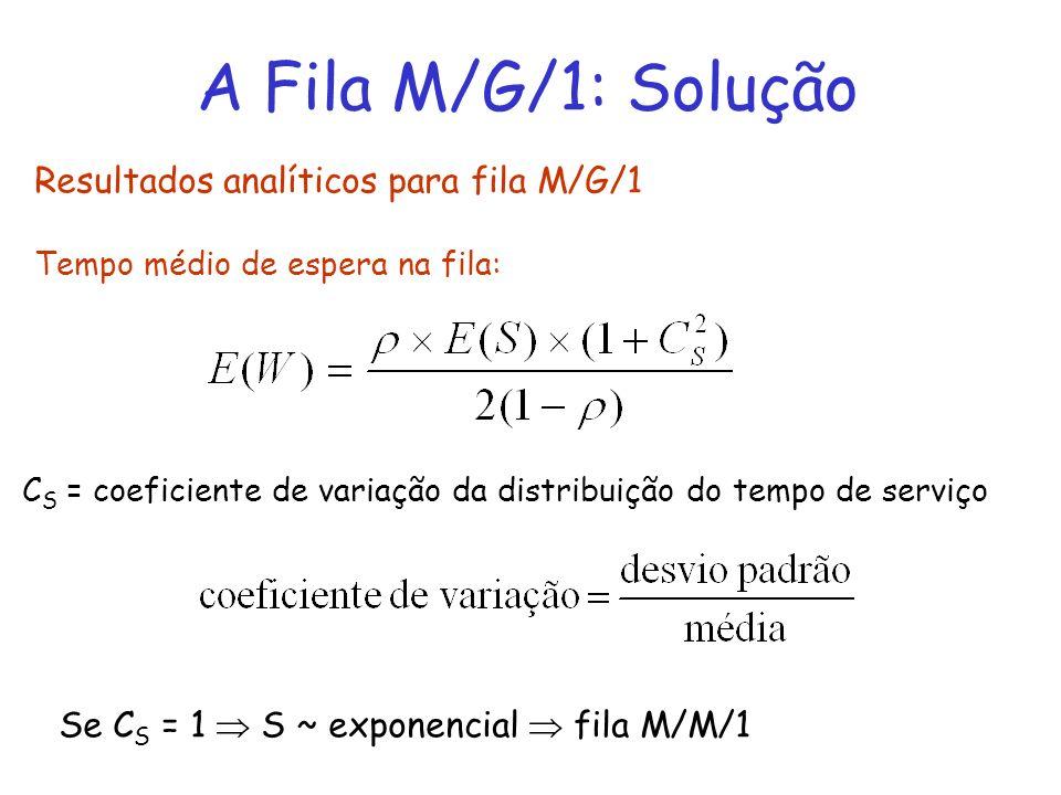 A Fila M/G/1: Solução Resultados analíticos para fila M/G/1