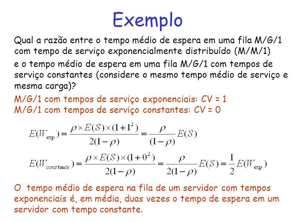 Exemplo Qual a razão entre o tempo médio de espera em uma fila M/G/1 com tempo de serviço exponencialmente distribuído (M/M/1)