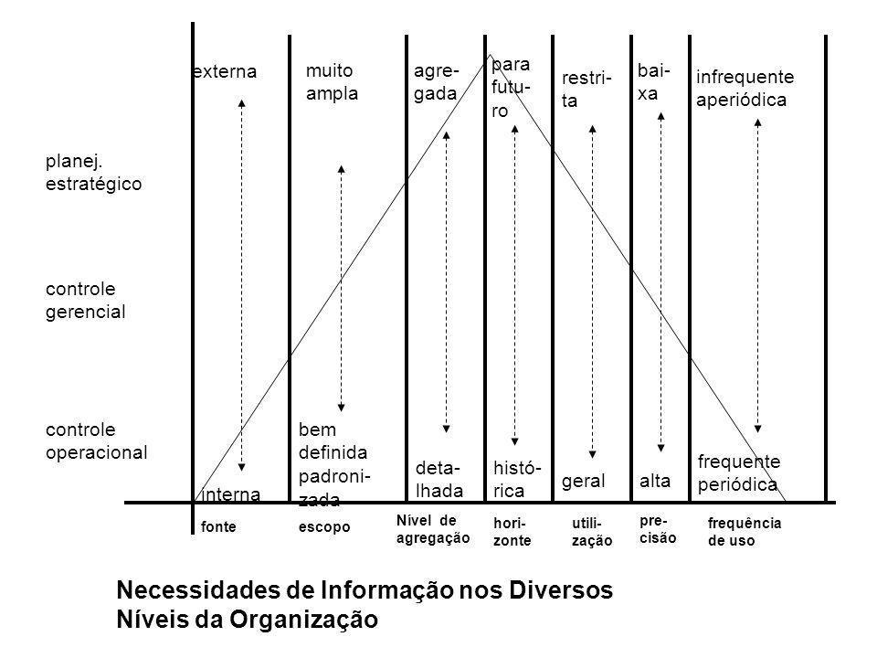 Necessidades de Informação nos Diversos Níveis da Organização