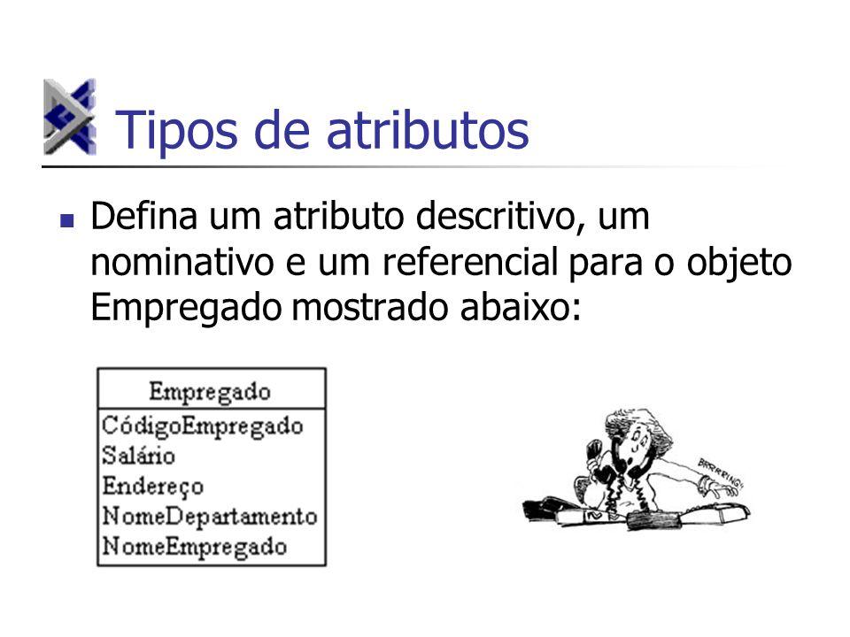 Tipos de atributosDefina um atributo descritivo, um nominativo e um referencial para o objeto Empregado mostrado abaixo: