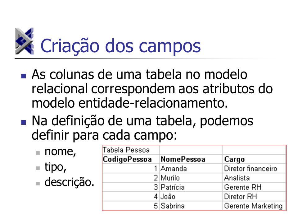 Criação dos campos As colunas de uma tabela no modelo relacional correspondem aos atributos do modelo entidade-relacionamento.
