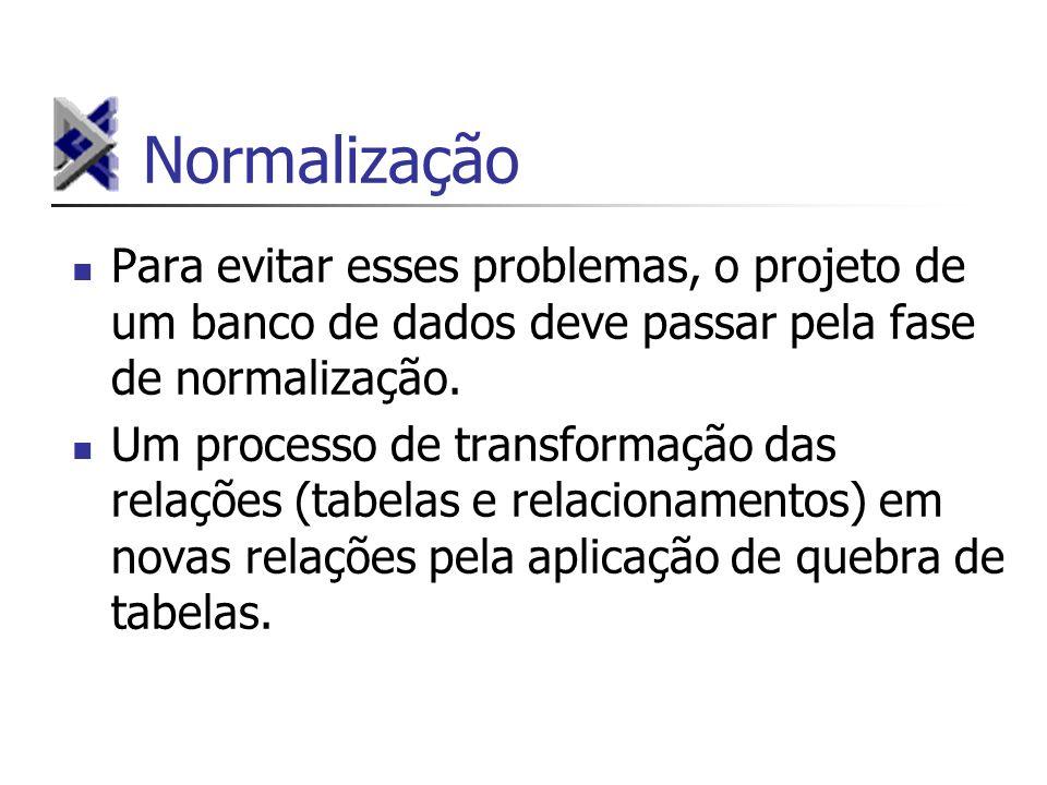 Normalização Para evitar esses problemas, o projeto de um banco de dados deve passar pela fase de normalização.
