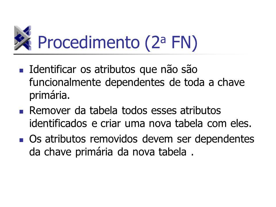 Procedimento (2a FN) Identificar os atributos que não são funcionalmente dependentes de toda a chave primária.