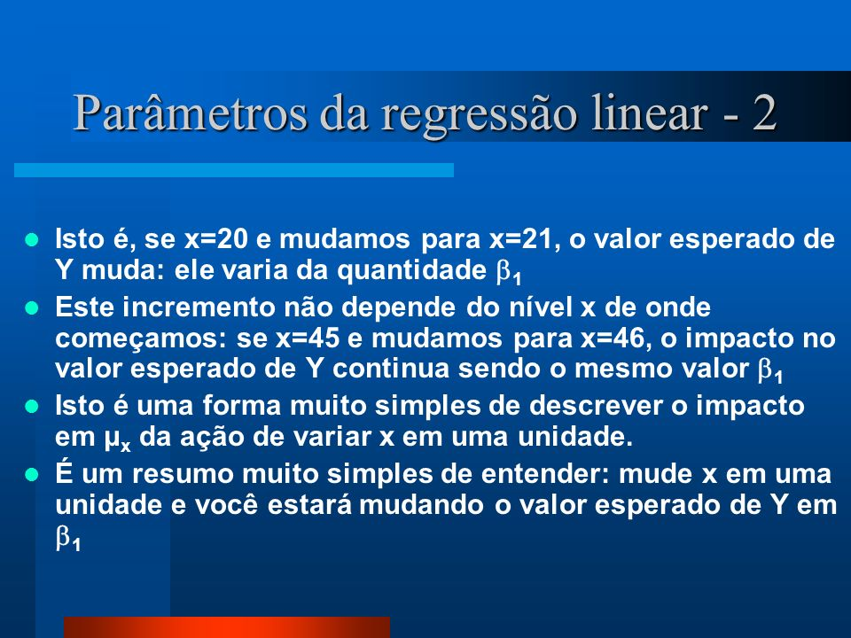 Parâmetros da regressão linear - 2