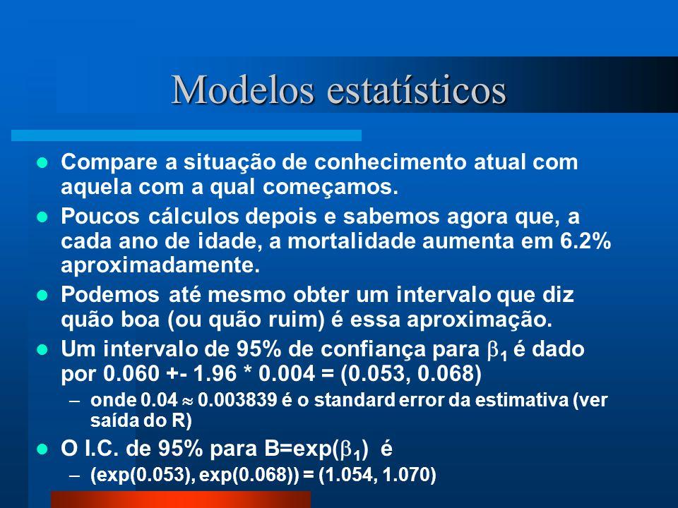 Modelos estatísticos Compare a situação de conhecimento atual com aquela com a qual começamos.