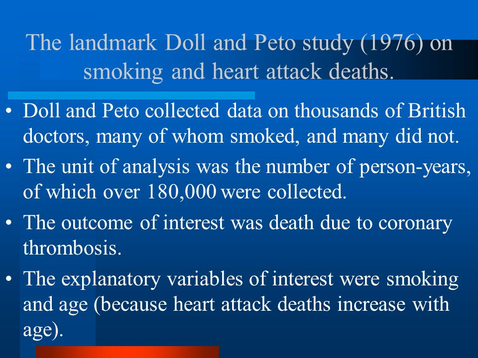 The landmark Doll and Peto study (1976) on smoking and heart attack deaths.